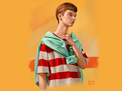 Dude portrait illustration digital painting photoshop short hair skin yellow background red stripes striped tshirt hoodie haircut nerd man fashion portrait