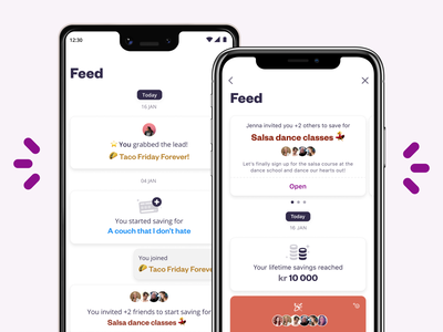 A social feed for savings events ios android app app design product design ux ui mobile app design mobile app social saving social card card design mobile card events feed