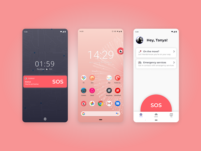 Lookout: the SOS app mobile app design lock screen home screen widgets widget product design app design android safety lookout emergency mobile app mobile app