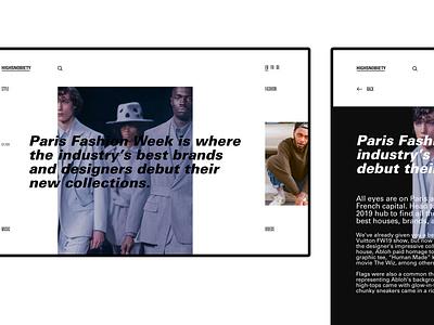 Web identity for @highsnobiety concept digital clean app uidesign branding design webdesign web ux ui