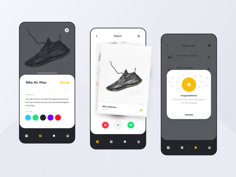 Swiper - Personalized Shopping ux ui mobile app minimal collection clean colors ios gradient app brand swipe shopping personalize concept nike ecommerce flat