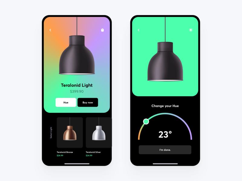 HUE-LIGHT lamp website colors animation typography ux flat illustration minimal hue web branding furniture concept design gradient vector logo ui app