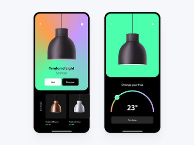 HUE-LIGHT lamp website colors animation typography ux flat illustration minimal hue web branding furniture concept design gradient vector logo ui app