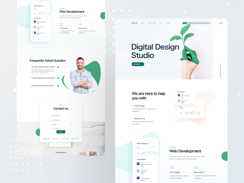 Digital Design Studio illustration colorful bangladesh uidesign digital design website dribbble best shot website design branding dribbble ofspace landing page ui landing page design