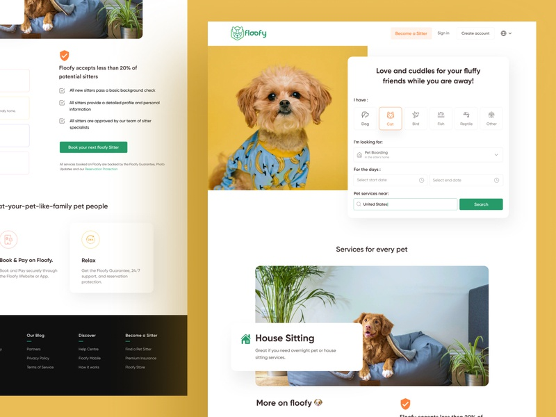 Floofy Redesign Concept dog illustration dog branding agency illustration website branding design real estate agency ofspace website design dribbble app design branding floofy