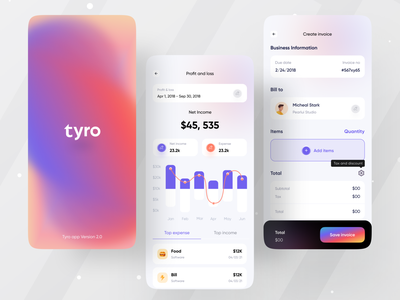 Tyro Financial App I Ofspace ofspace agency mobile mobile design finance app billing bills gradient accounting money app application money graph chart invoicing invoicing app fintech app fintech statistics app design