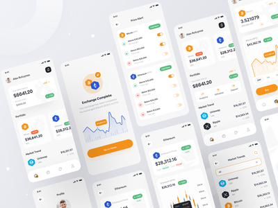 Crypto Wallet App Design UI Kit uxdesign experience ux ui interface user interface exchange bitcoin wallet app wallet application chart app cryptocurrency btc cryptocoin coins crypto mobile app mobile