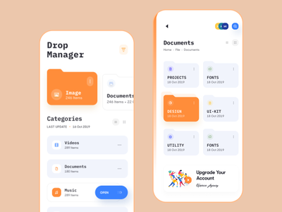 Drop Manager App UI ios app design documents ofspace mobile app design app ui file explorer folder dropbox file manager file upload manager file