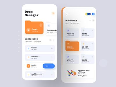Drop Manager App UI ios app design documents ofspace mobile app design app ui file explorer folder dropbox file manager file upload manager file