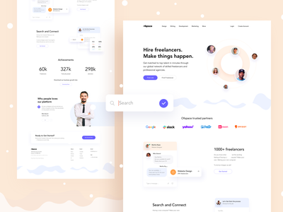 Hire Freelancers, make things happen landing ofspace colorful typography design branding illustration landing page concept landing page design website design landing page