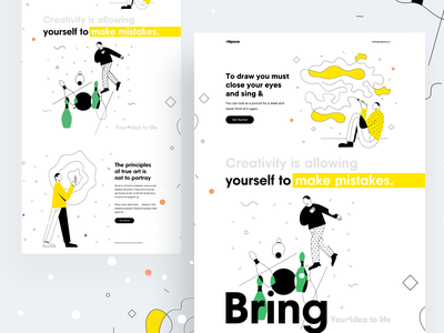 Thinking is the enemy of creativity : Vol 4 colorful vector dating website branding illustration design typography landing page design landing design website concept website design website landing creative