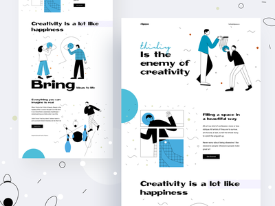 Thinking is the enemy of creativity designs animation ux ui brand identity brand design branding illustration colorful typography website web website designer landing page website design
