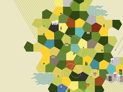 Expo village tiles grid pentagon territory fields houses