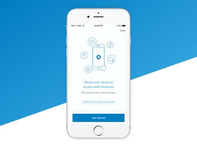 Mobility Management Enrollment walkthrough enterprise cloud okta illustration ui mobile