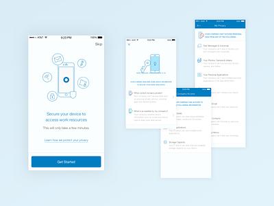 Device management privacy lineart walkthrough enterprise cloud okta illustration ui mobile