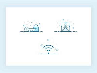 Mobile Walkthrough Illustration Exploration icons okta mobile ui vector lineart