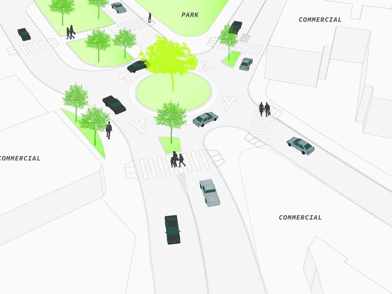 Roundabout Street Design render streetscape concept graphic  design sketchup adobe illustrator landscape architecture landscape illustration