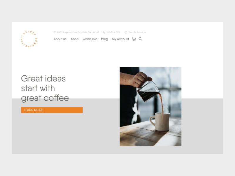 Velvet Sunrise: Web Design split screen minimal minimalist clean layout coffee website design web  design webdesign website web letspanda