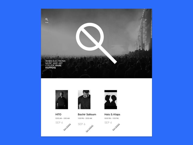 RARE: Web Design design ui website mark events music rare strike minimalist branding grid layout website concept website design webdesign letspanda