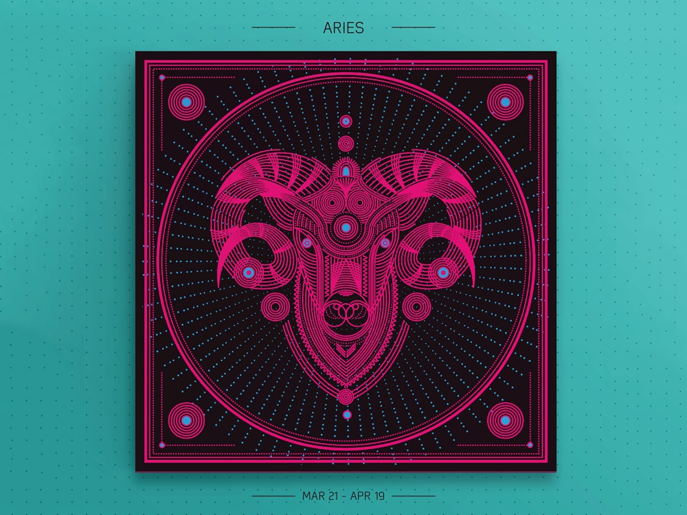 Aries graphic design prints pink vector linear aries zodiac signs design illustration