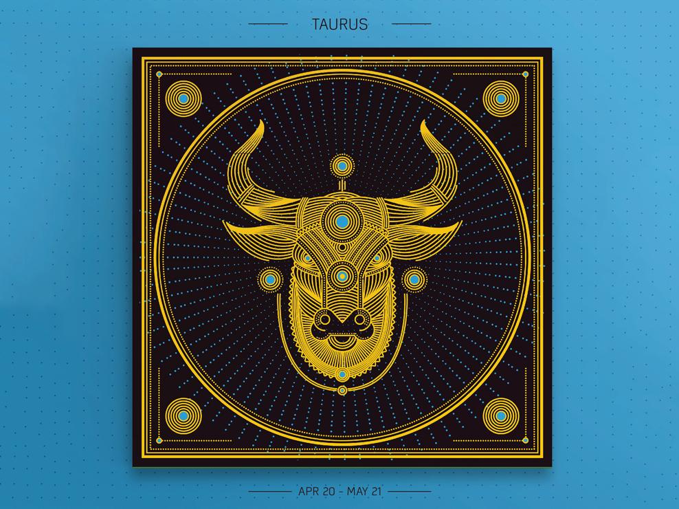 Taurus yellow vector art prints taurus zodiac signs design linear vector graphic design illustration