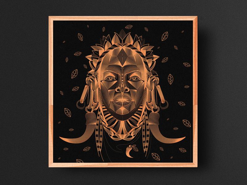 Tribal black gold tribal prints vector graphic design linear design illustration