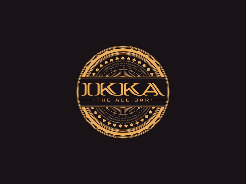 IKKA the Ace Bar emblem spades bar logounit logodesign gold black vector logo branding graphic design design