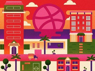 Dribbble debut illustration first shot vectors tropical beach