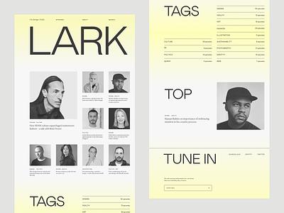 LARK podcast home design home gradient typography grid ui website podcast