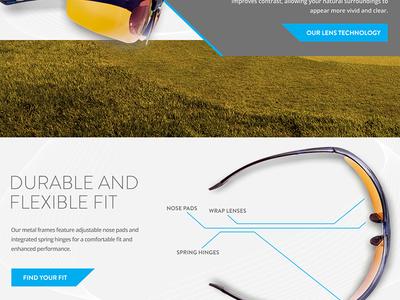 Sports eyewear site golf sunglasses ecommerce ui web website