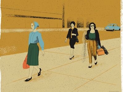 WIP 1950s NYC street scene city illustration street scene retro 1950s digital art illustration