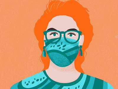 Pandemic Portrait woman illustration woman portrait female character face mask portrait pandemic branding digital art colorful illustration