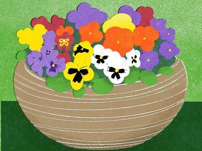Basket of Pansies, for 21 Days of Fresh Flowers floral design floral art flower illustration digital art colorful illustration