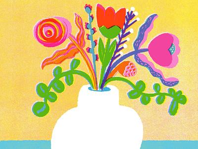 Vase of Flowers, for 21 Days of Fresh Flowers flowers floral art flower illustration vase of flowers digital art colorful illustration