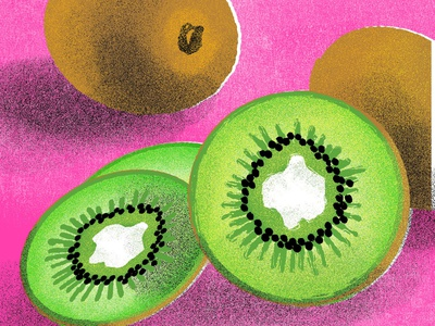 Kiwi, for 21 Days of Good Health fruit illustration kiwi illustration kiwi branding digital art colorful illustration