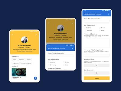 Student Club App mockup swipe overlay profile upload form design material design ui sketch mobile app design