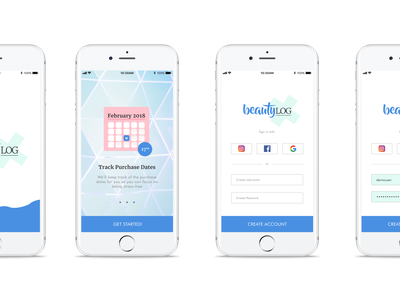 Skin Care App Onboarding + Log In skincare app app dailyui skin care login screen dribbble debut onboarding uiux design tracker app mobile app sketch