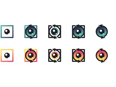 Creative Lens App Logo Design perspective polaroid camera lens gradual cycle app icon logo