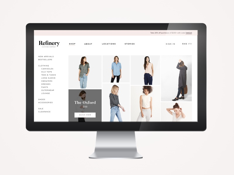Refinery Clothing Co. | Shop minimal clean simple imac overlay refinery pink ecommerce clothing ux ui branding