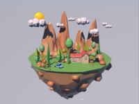 C4D Low poly island