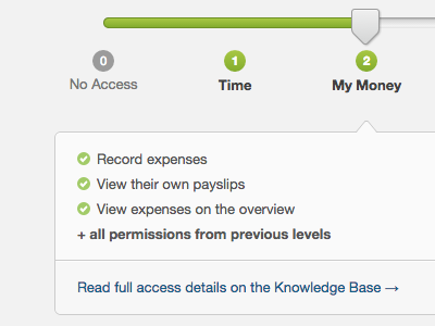 Time and money freeagent ui permissions slider