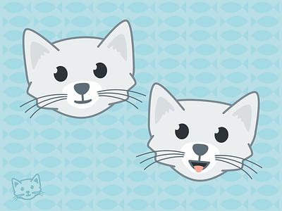 Smiling Kitten outlined simple illustration cat kitten