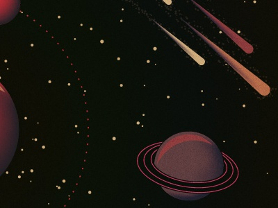 Spaced Out planets meteors stars space illustration shooting stars