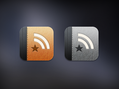 Reeder reeder ios iphone icon leather denim texture