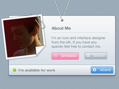 vCard vcard about dribbble paperclip picture curl avatar button email download