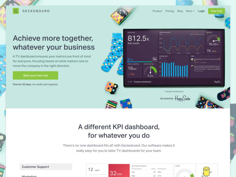 Geckoboard + Happy Socks homepage homepage kpi happy socks dashboard geckoboard