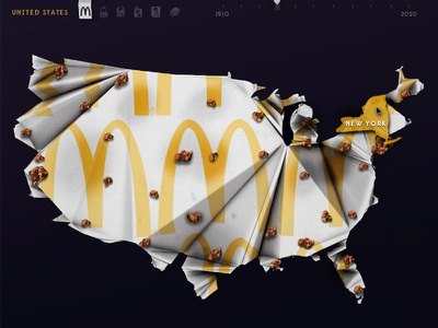 Fast Food Outbreak Interactive Infographic kfc map interactive paper app hamburger usa mcdonalds infographic data visualization fast food dunkin donuts 3d