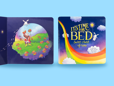 It's Time for Bed Children's Book candy lolipop lion dreamy clouds bedtime dreaming dream rainbow bunny animals gender neutral inclusivity inclusive design kids illustration childrens illustration childrens book kids book illustrator illustraion