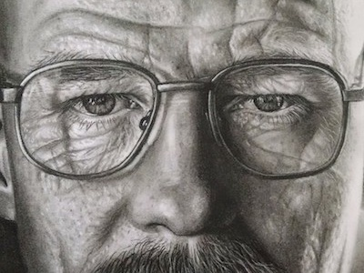 Walter White Charcoal Portrait charcoal portrait realistic walter white breaking bad fine arts art black and white people
