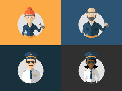 Flight Crew Character Illustrations flat illustration mechanic pilot flight bright color characters